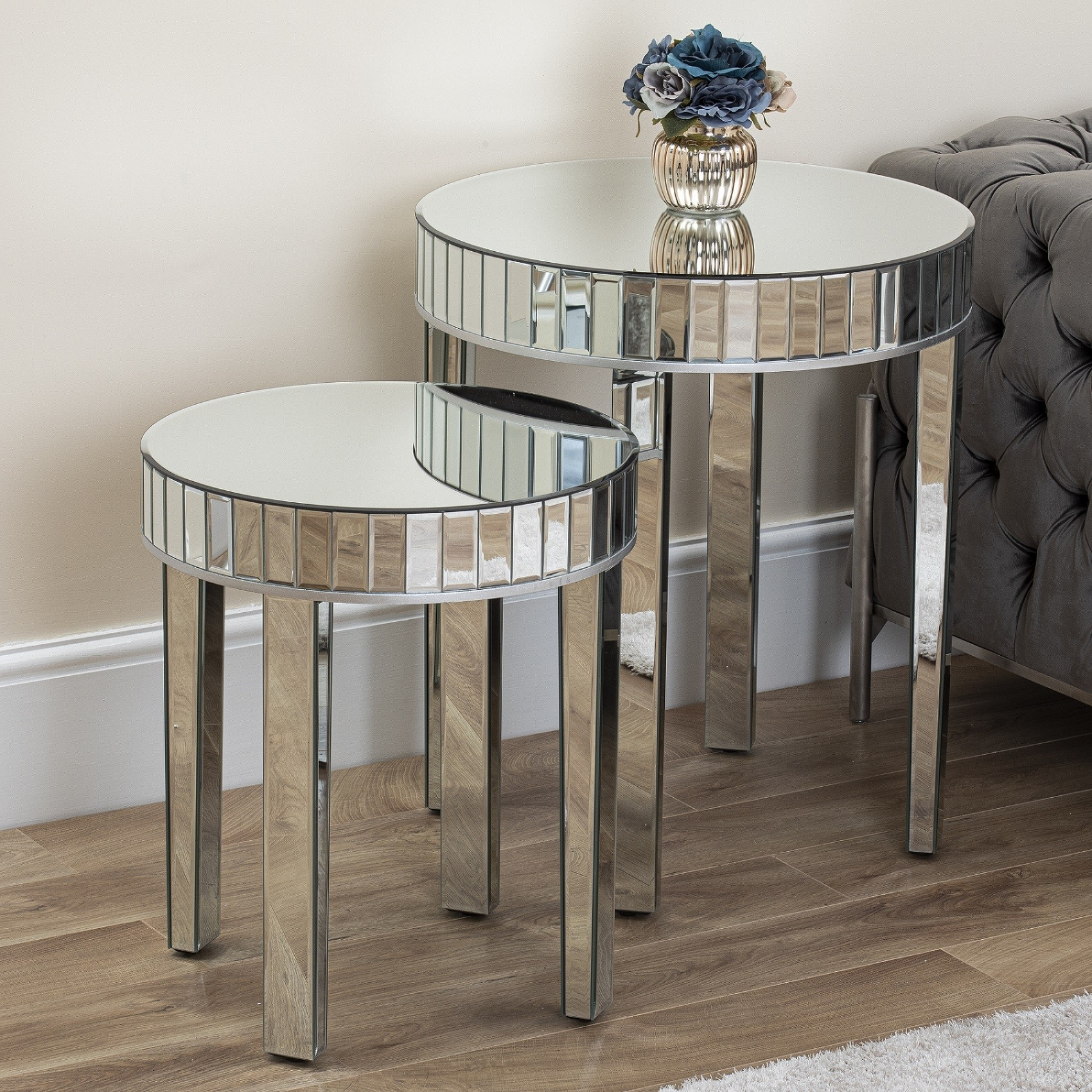 Large Mirrored Round Nest Of Tables Mirror Legs Side Table Living Room Hallway Ebay