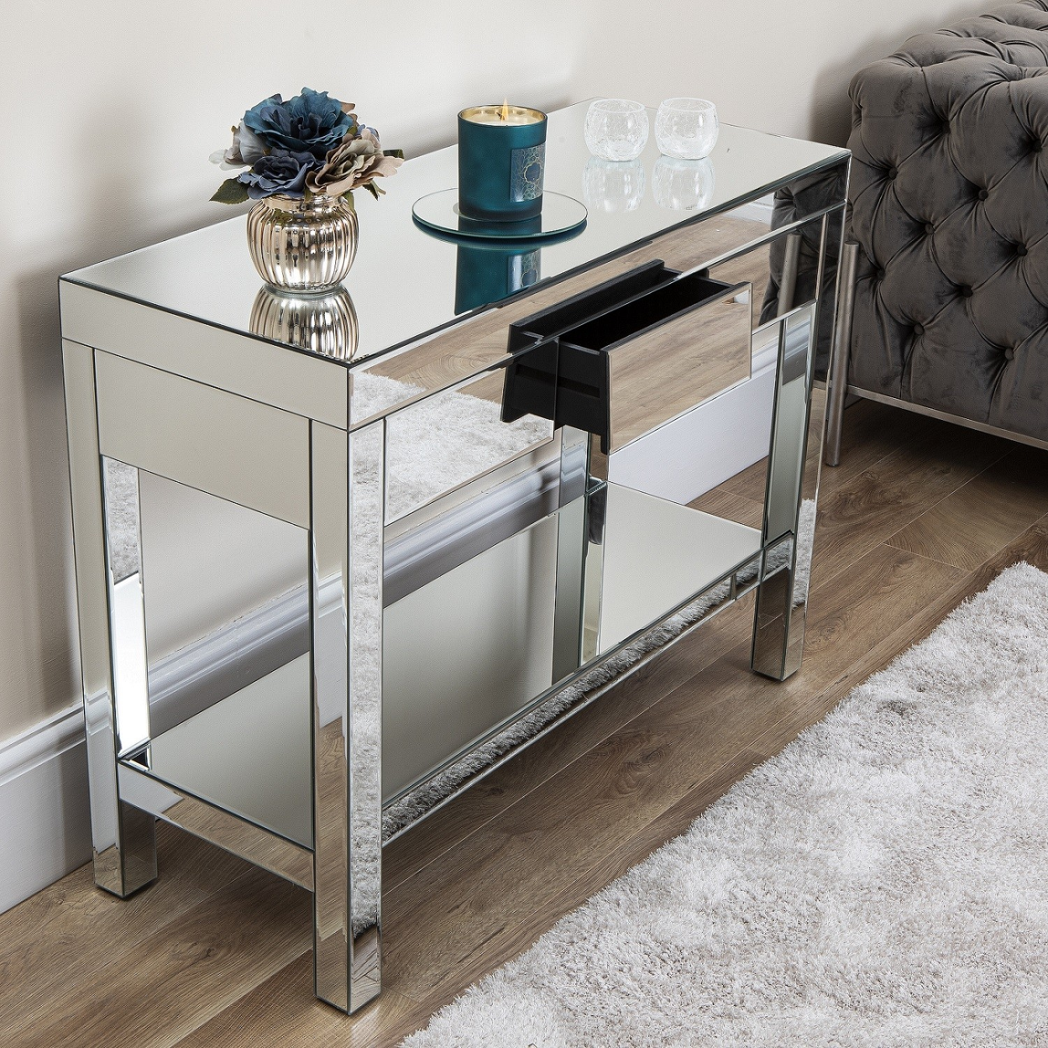 Angled Mirrored Furniture Living Room Console Table Coffee ...