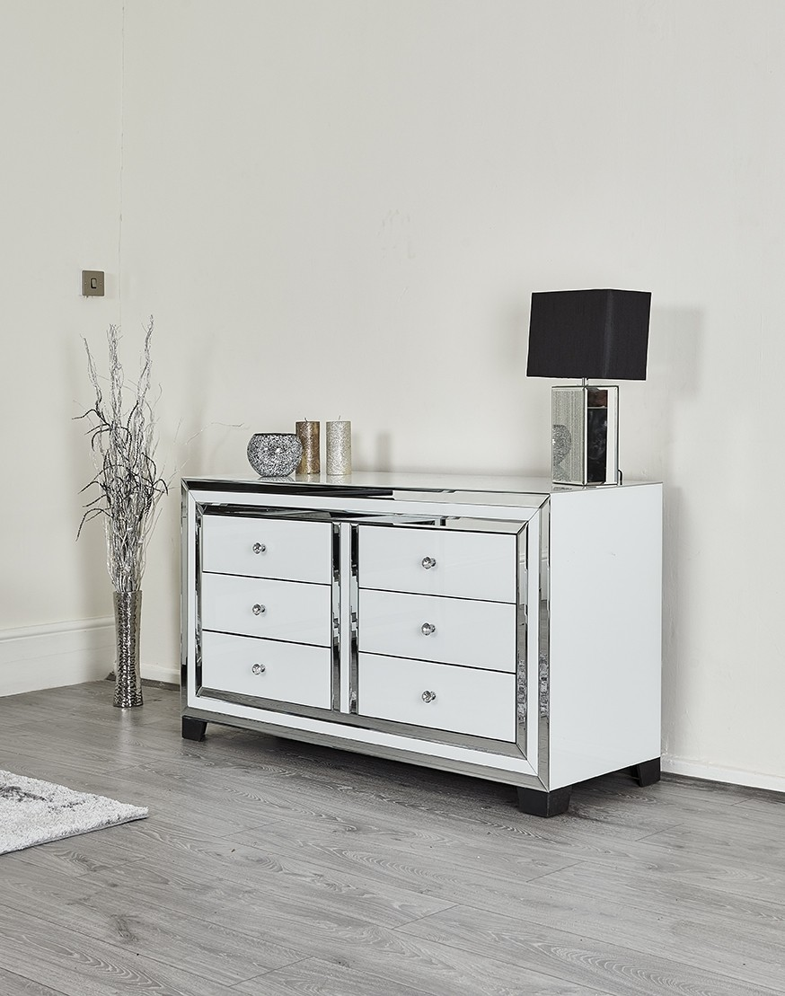quality design 9519e 13678 White Glass & Mirror Chest of 6 Drawers