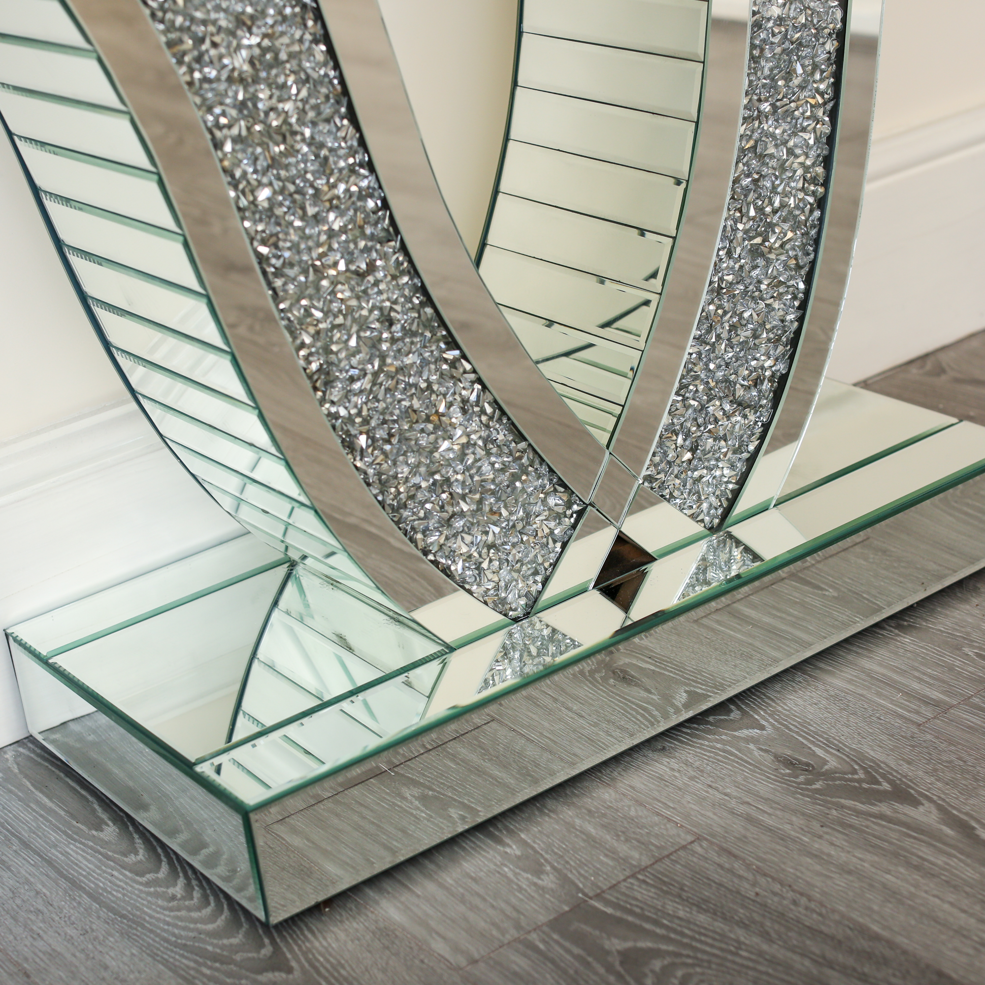 Diamond Crush V Shaped Console Table Abreo Abreo Home