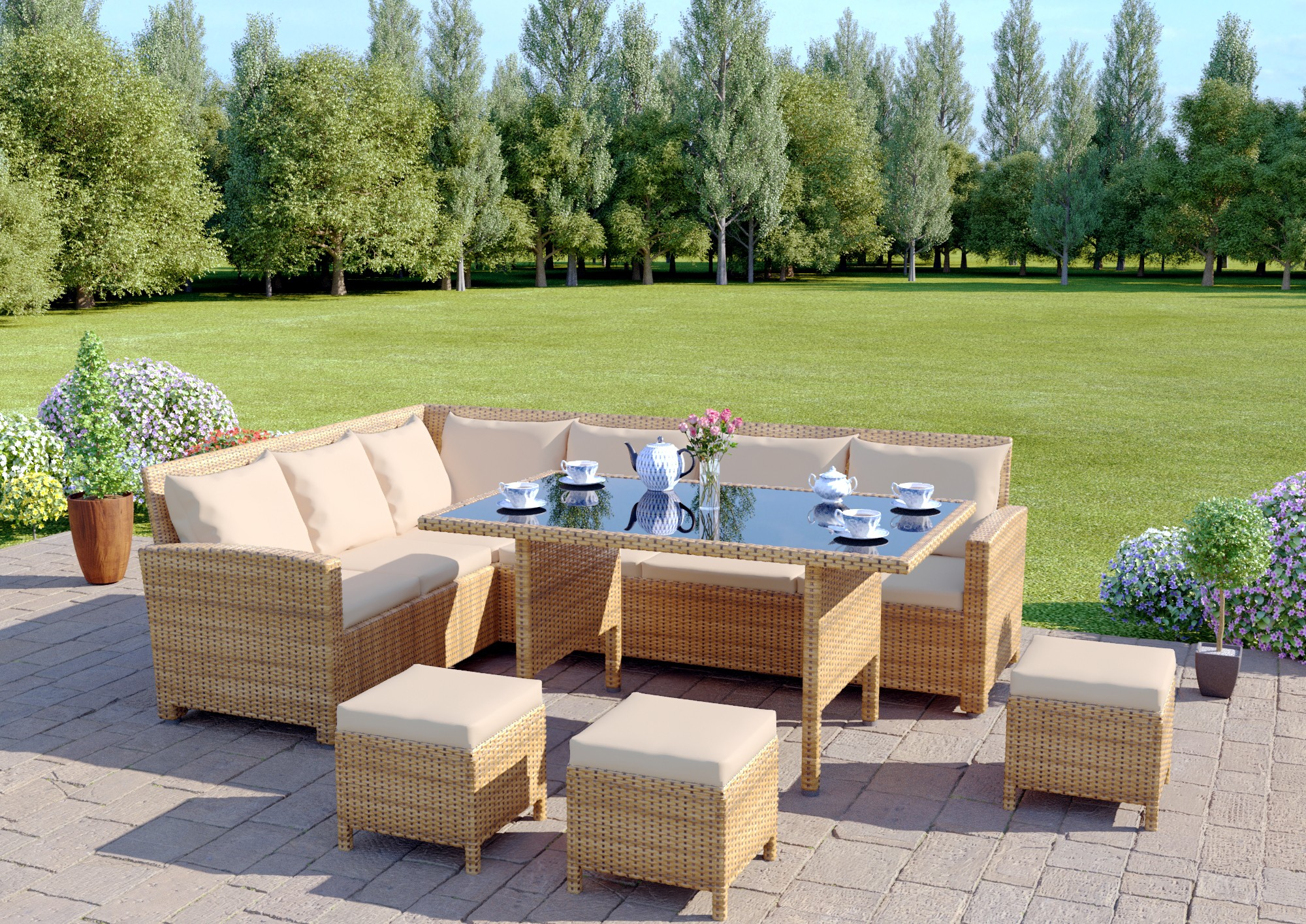 9 seat light brown rattan garden furniture corner sofa dining set ...
