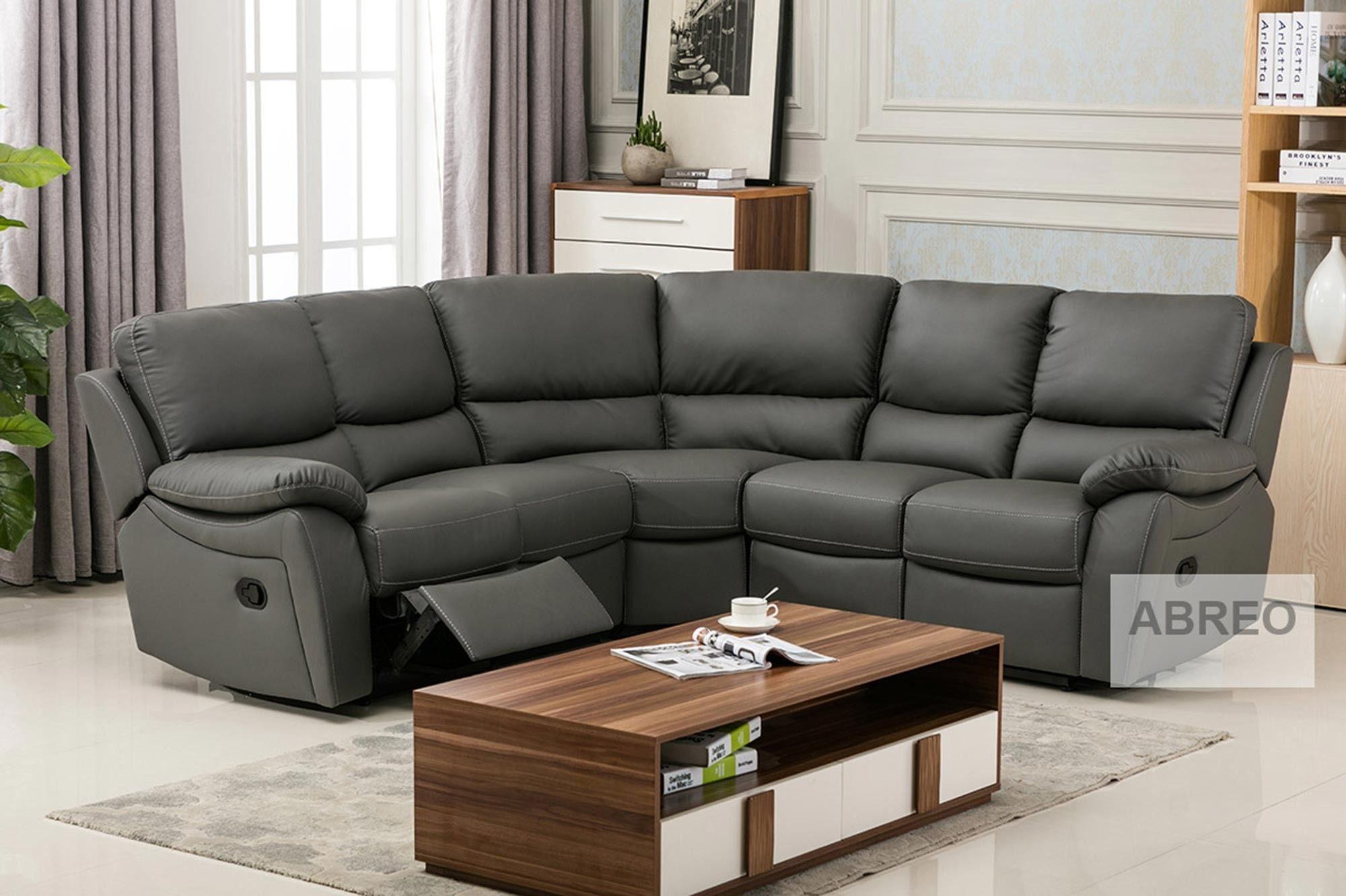 On Sale Ludlow Reclining Corner Sofa In Grey PU