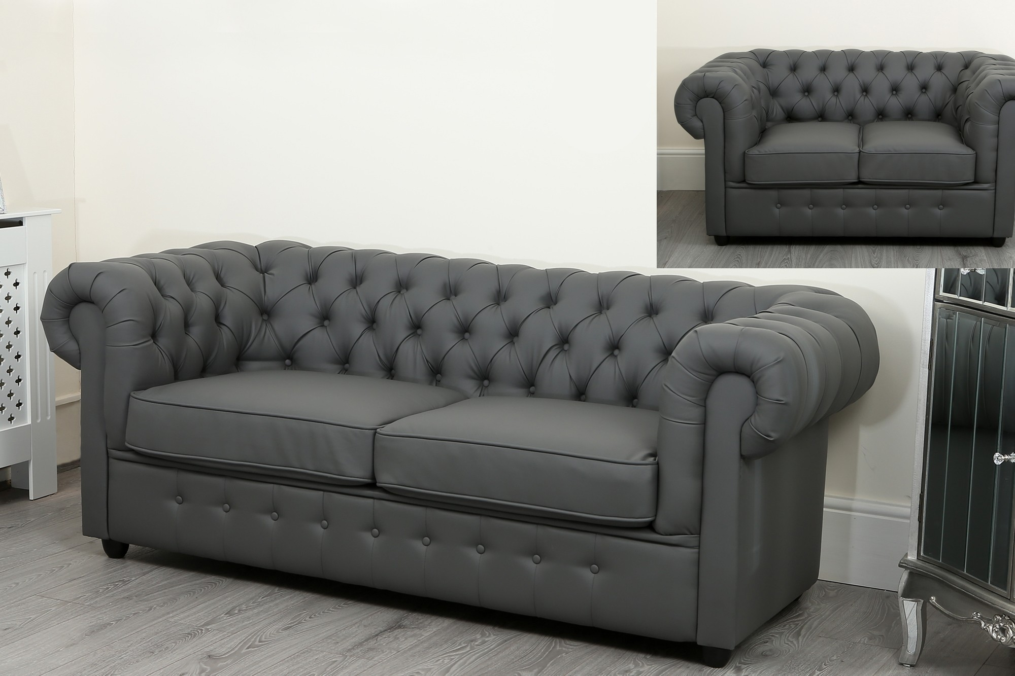 empire grey faux leather chesterfield sofa suite abreo home furniture. Black Bedroom Furniture Sets. Home Design Ideas