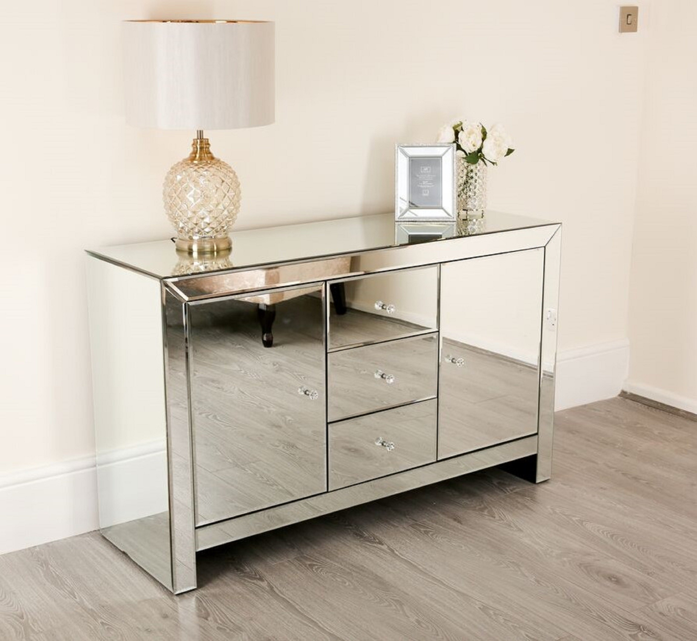 Large Venetian Mirrored Sideboard - Living Room Furniture - Home ...