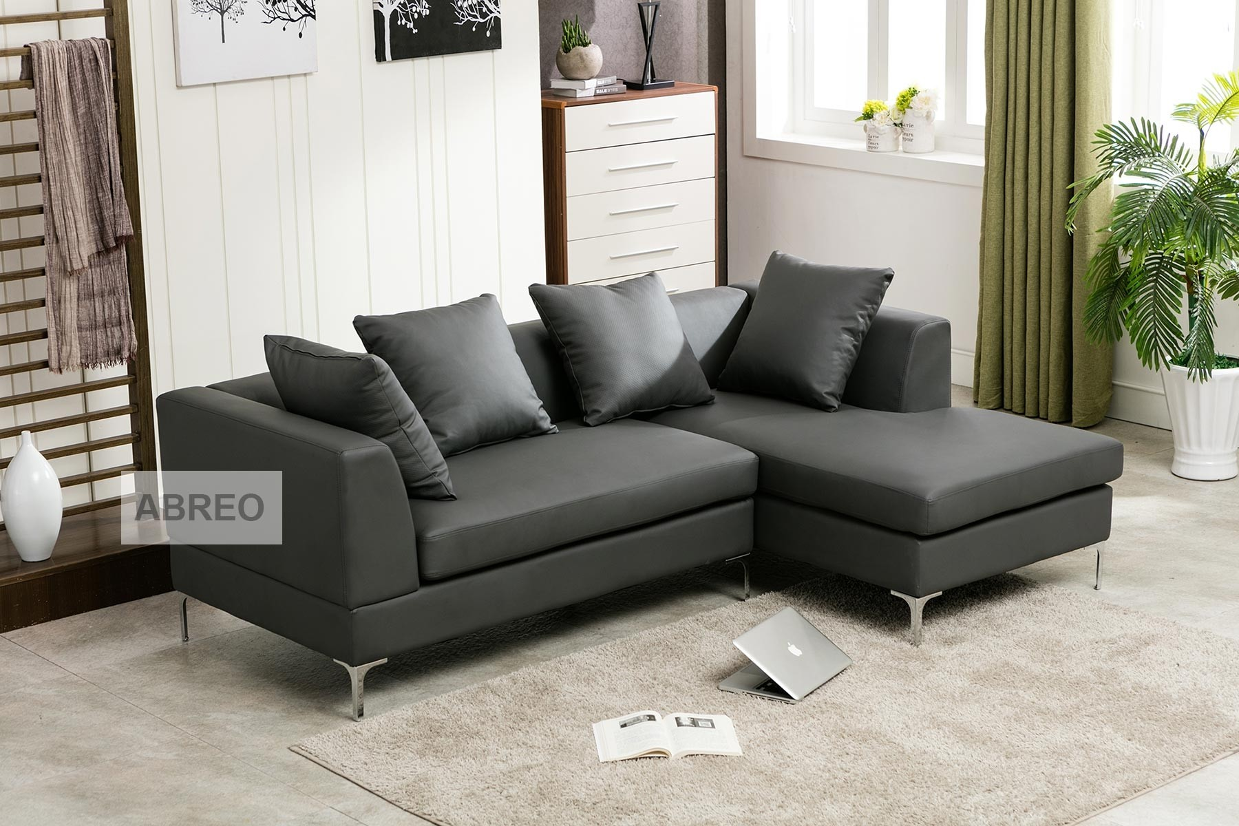 Manhattan Corner Grey Sofa Leather Sofas Sofas Abreo Home Furniture