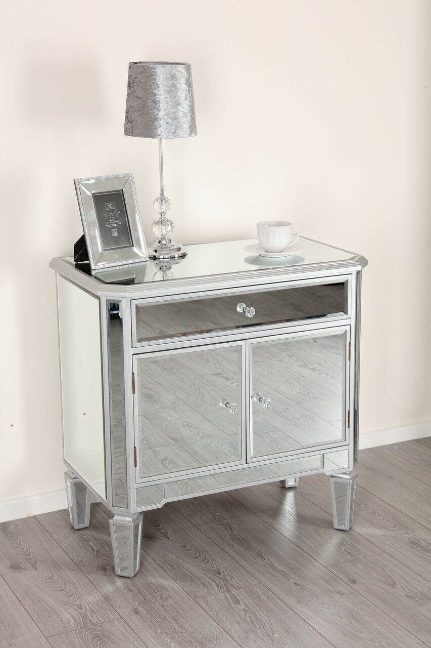 Clara 2 Door And 1 Drawer Mirrored Cabinet Abreo Home Furniture