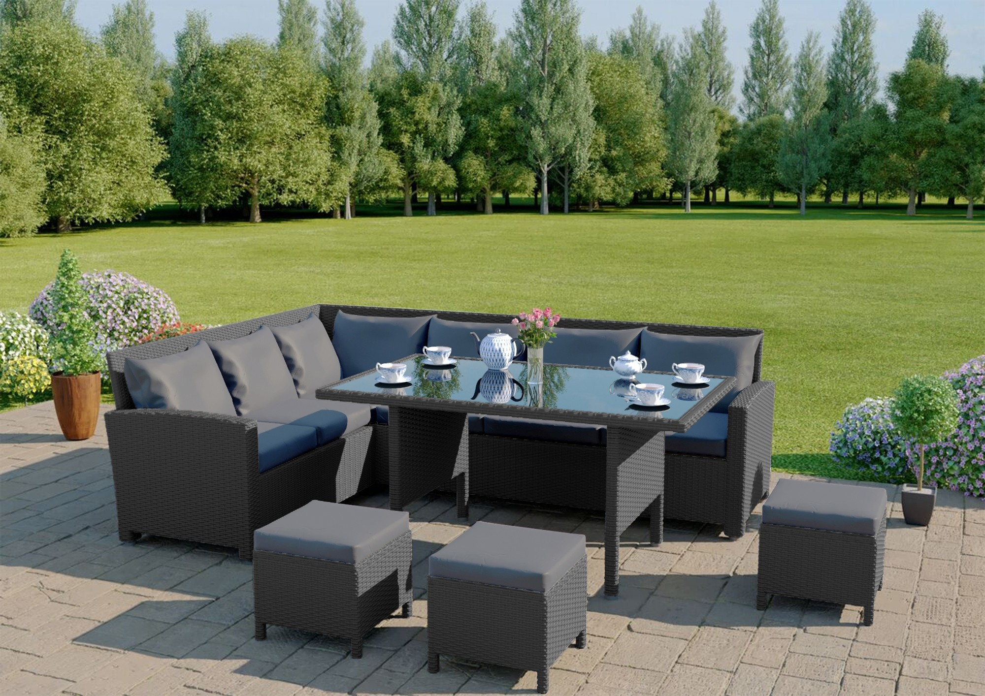 9 Seater Corner Garden Dining High Gloss Table Set Abreo