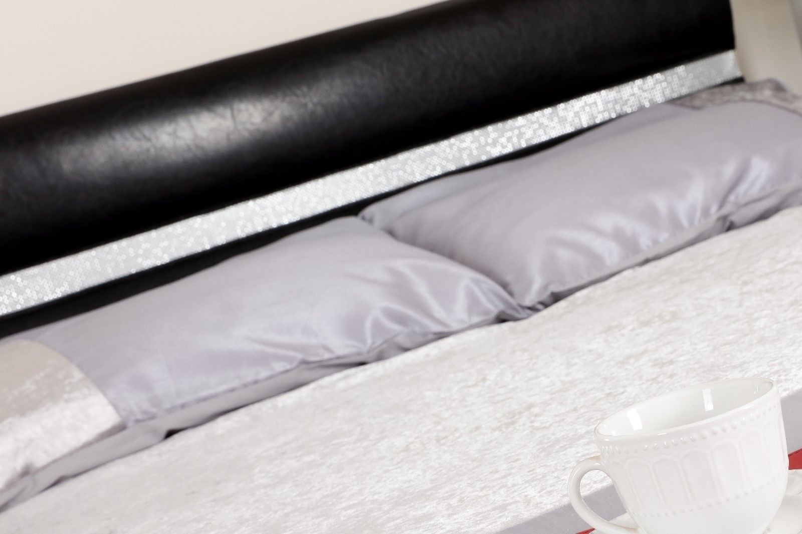 Lana Faux Leather Diamante Bling Bed Frame Abreo Home