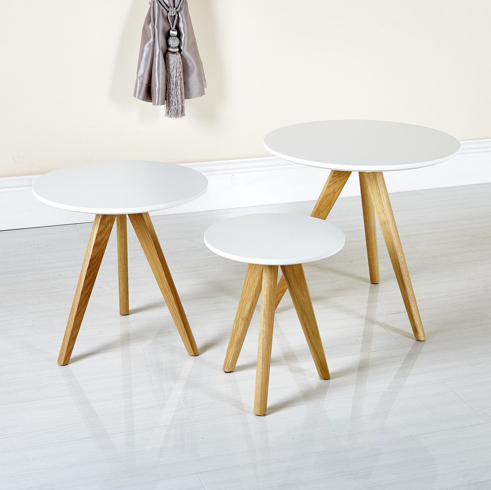 Scandinavian retro style white nesting tables Abreo Home Furniture