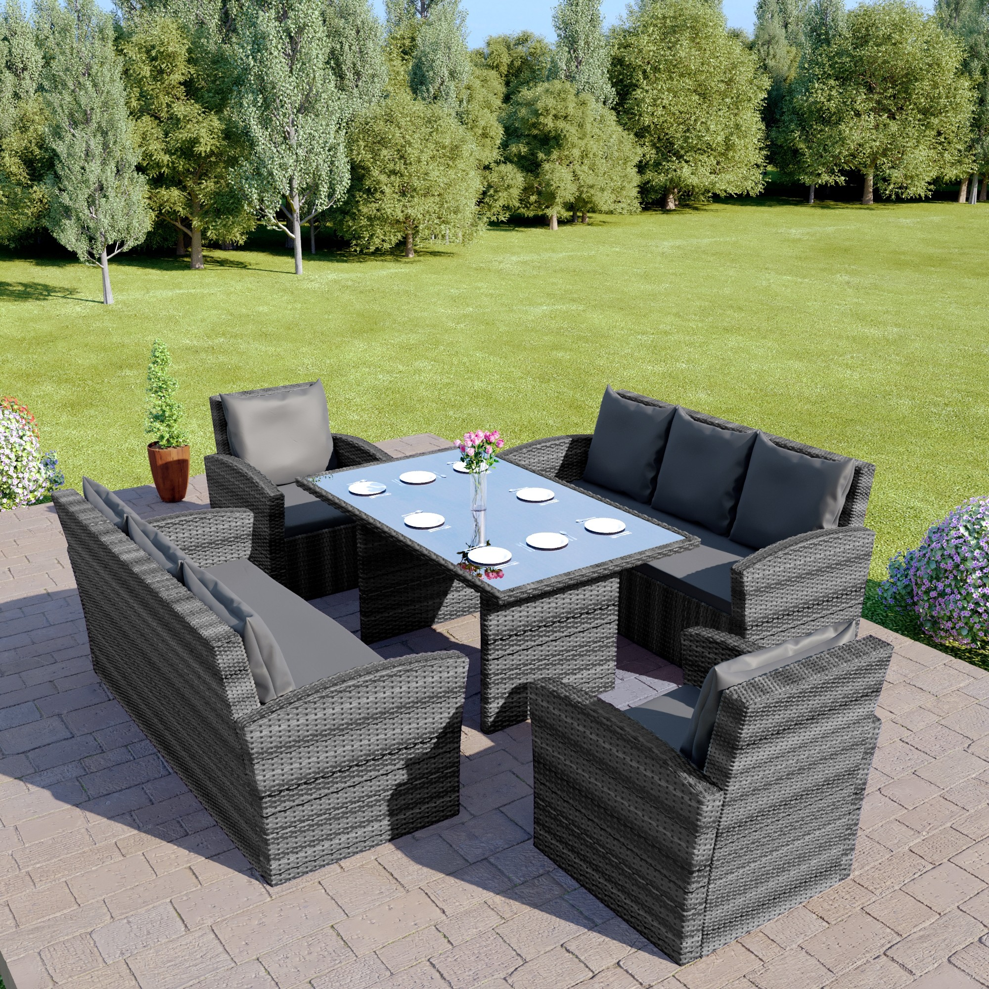 Stupendous Miami 8 Seater Garden Furniture Set In Dark Mix Grey With Dark Cushions Home Remodeling Inspirations Genioncuboardxyz