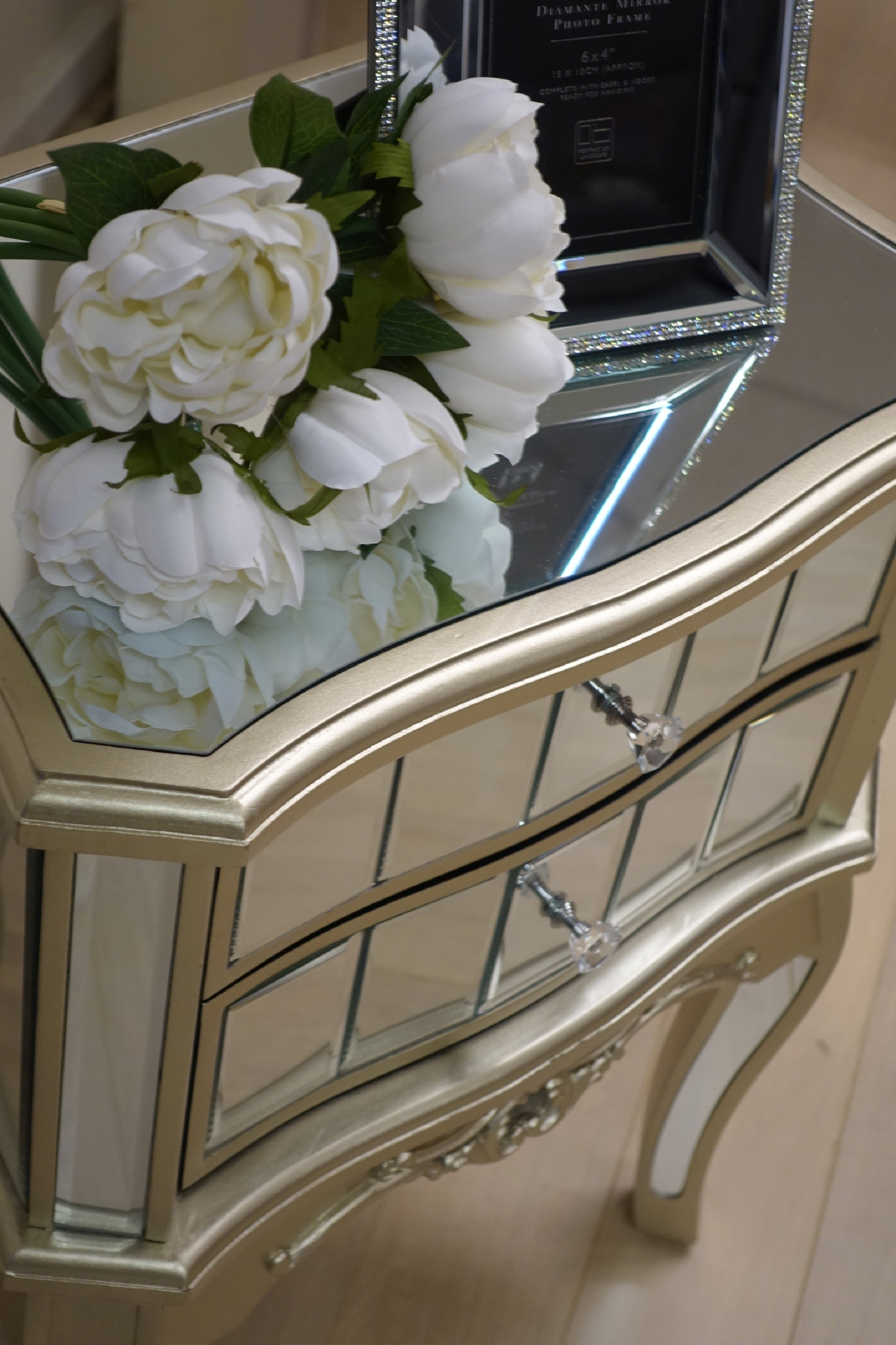 Sophia Bedside Table Champagne Gold Trim Living Room