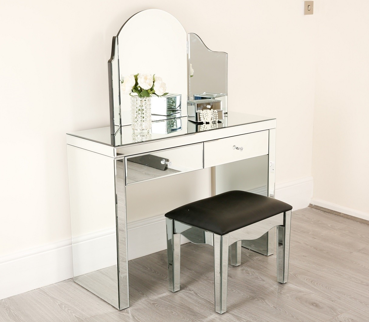 Venetian Mirrored Dressing Table Set Abreo Home Furniture