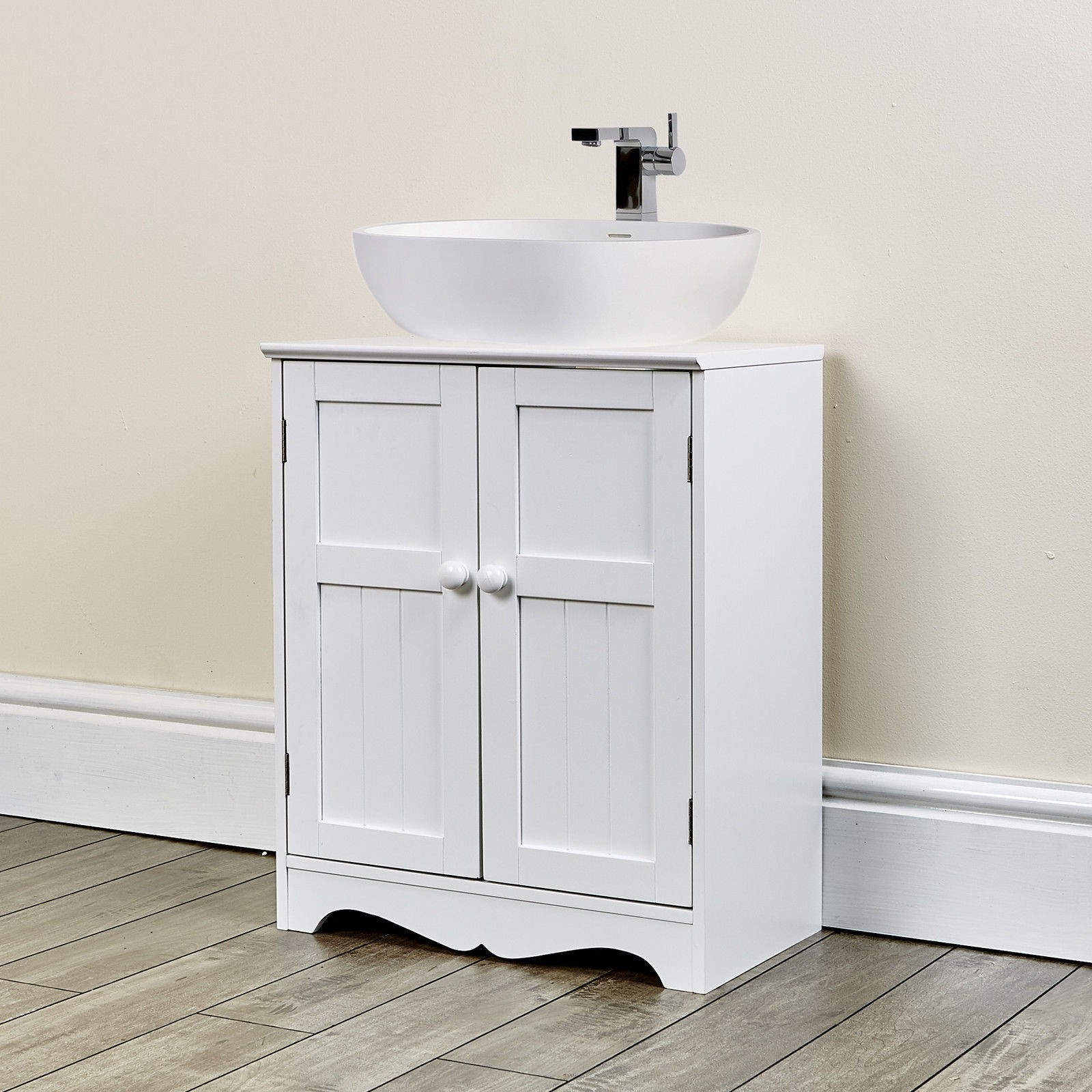Oxford white under sink storage unit abreo home furniture for Bathroom chest
