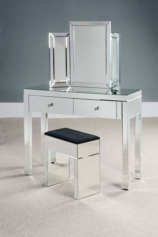 Venetian Mirrored Dressing Table Stool And Mirror Set