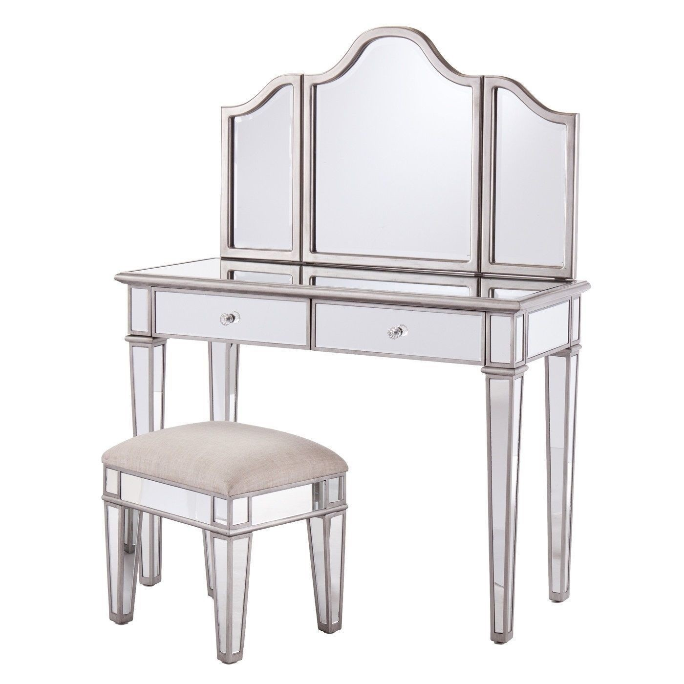 Mirrored dressing table stool and freestanding mirror abreo home furniture - Stool for vanity table ...