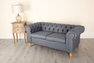 2 Seat Chesterfield Grey Canterbury