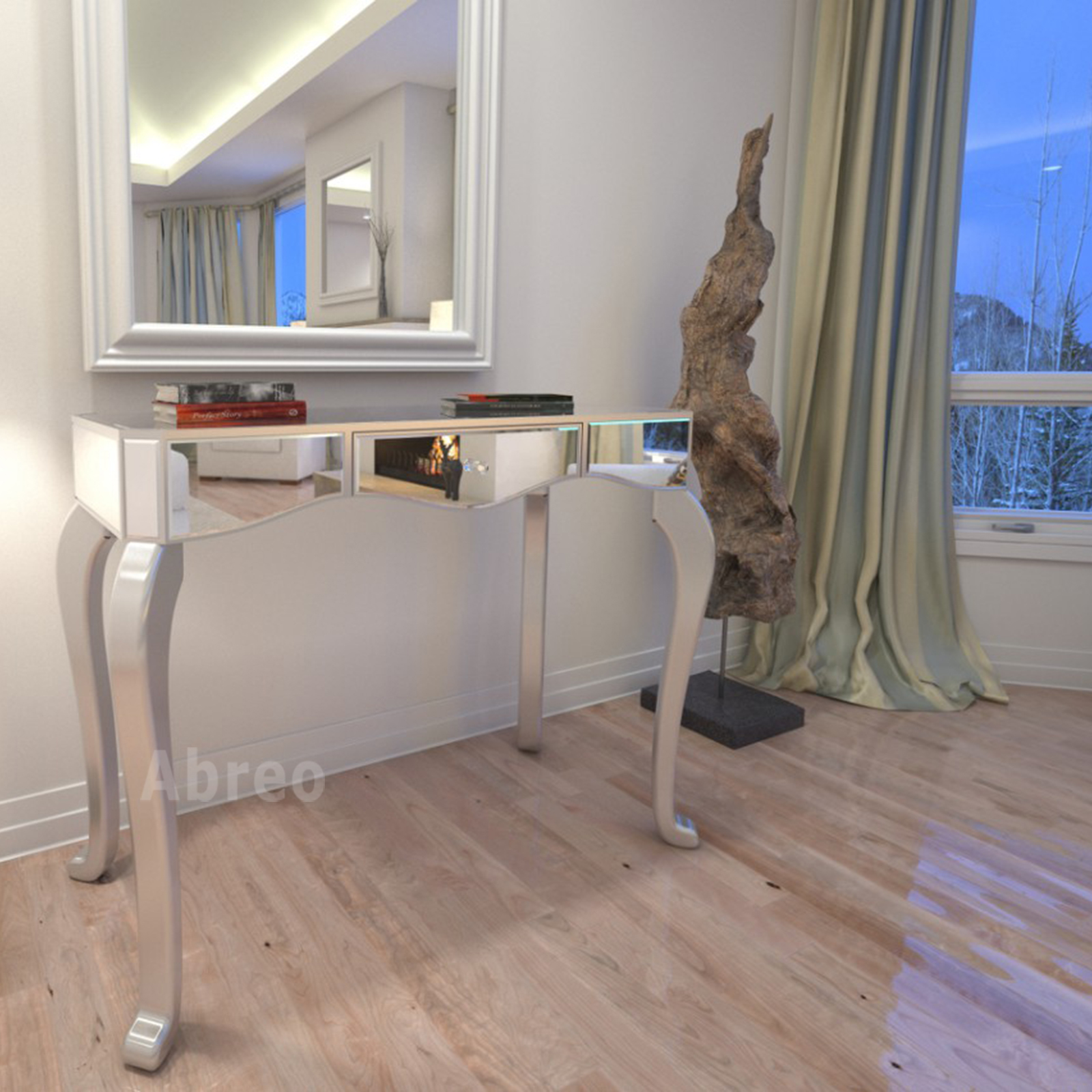Wooden console table with mirror - Mirrored Console Table Dressing Tables Bedroom Furniture Abreo Home Furniture