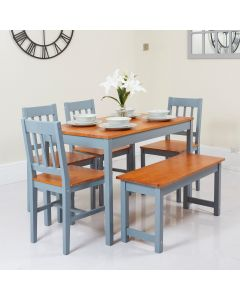 Grey and Honey Dining Table with 4 Chairs and 1 Bench