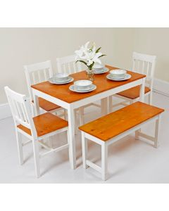 White and Honey Dining Table with 4 Chairs and 1 Bench