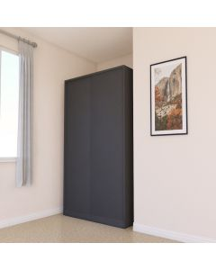 Black Sliding Door Double Wardrobe