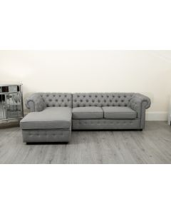 Empire Grey Linen Left Hand Corner Sofa