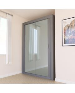 Mirrored 2 Door Sliding Grey Wardrobe