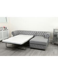 Empire Grey Linen Right Hand Sofa Bed
