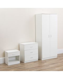 White Bedroom Wardrobe Furniture Set- Set of 3