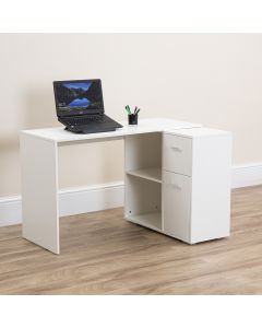 White Computer Desk with Storage