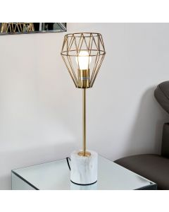 Gold Metal Tall Table Light with Marble Weighted Base