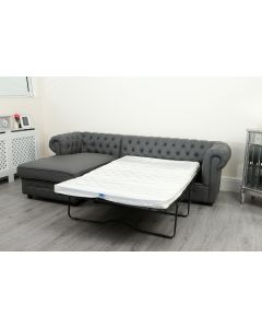 Empire Grey Faux Leather Chesterfield Corner Sofa Bed