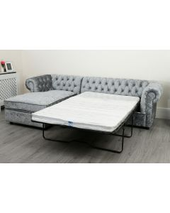 Empire Silver Grey Crushed Velvet Chesterfield  Left Hand Sofa Bed