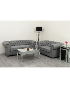 Empire Chesterfield Sofa Suite 3 2 and 1 Seater Grey Linen Fabric