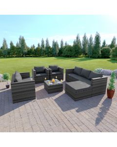 Rattan Garden Furniture Corner Sofa Set 7 Seat Dark Mixed Grey with Light Cushions