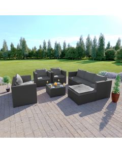 Rattan Garden Furniture Corner Sofa Set 7 Seat Solid Dark Grey with Light Cushion