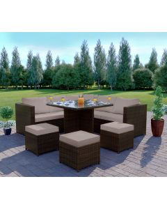 Rattan Garden corner Dining set 7 seats Brown with Light Cushions