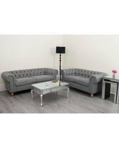 Canterbury Grey Linen Fabric Chesterfield Sofa Suite 3 and 2 seater