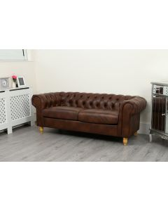 Canterbury 3 Seater Dark Tan Leather Air