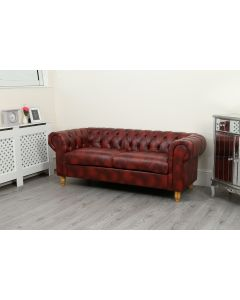 Canterbury 3 Seater Oxblood Faux Leather Sofa