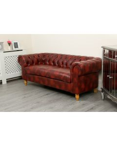 Canterbury 2 Seater Oxblood Red PU Sofa