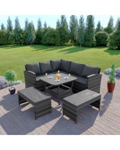 Rattan Garden Furniture Corner Dining Set In Mixed Grey With Dark Cushions
