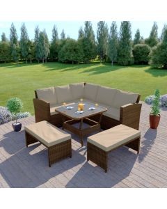 Rattan Garden Furniture Corner Dining Set In Brown With Light Cushions