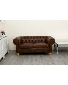 Canterbury 2 Seater Dark Tan Leather Air