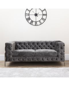 Grey Chesterfield Style Love Seat With Metal Legs