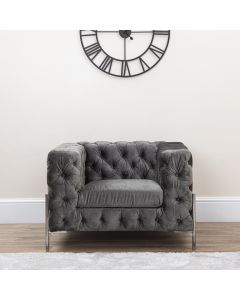 Grey Chesterfield Style Armchair With Metal Legs