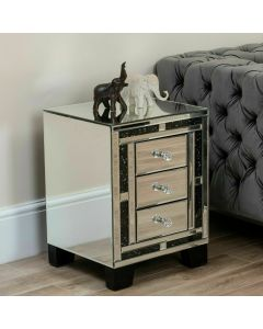 Black Crushed Diamond 3 Drawer Night Stand