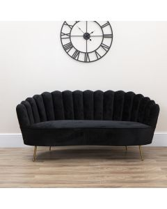 BLACK SOFT VELVET SCALLOP SHELL LOVE SEAT WITH GOLD LEGS