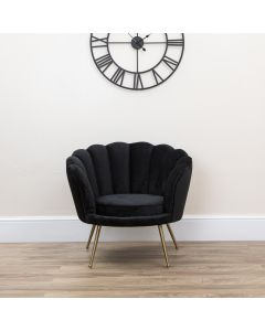 Black Soft Velvet Scallop Shell Armchair With Gold Legs