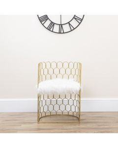 Gold Wired Armchair with White Fluffy Seat