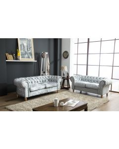Canterbury silver grey crushed velvet chesterfield sofa